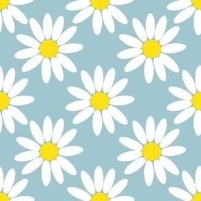 daisies pastel blue