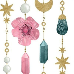 Moon and Gemstones Beads White