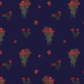 Red Wild Flowers (Navy)