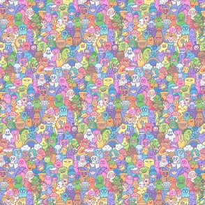 Doodle characters 2021 pastel