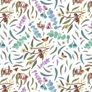 Eucalyptus Leaves, Butterflies, Gum Nuts & Blossom - white, medium