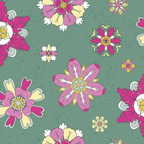 pink rosettes on green large