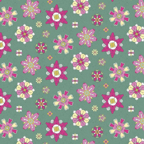 pink rosettes on green medium