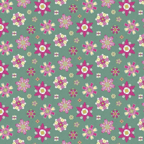 pink rosettes on green small