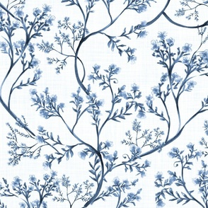 Chinoiserie Wild Flowers (White) - Large Scale