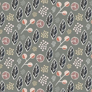 Indigenous Flora - Olive Grey - Small