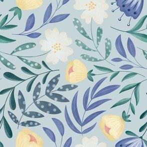 Dancing Flowers // Feminine Wildflowers, Scandinavian Style // Light Blue and Purple Color by Angelica Venegas