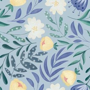 Dancing Flowers // Feminine Wildflowers, Scandinavian Style // Lilac Color by Angelica Venegas