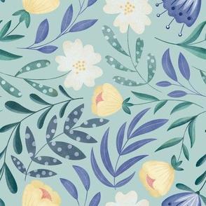 Dancing Flowers // Feminine Wildflowers, Scandinavian Style // Green and Purple Color by Angelica Venegas