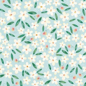 Daisy Flowers and Peaches  // Baby Fabric, Spring Fabric, Baby Girl // Cream, Green, and Blue Sky