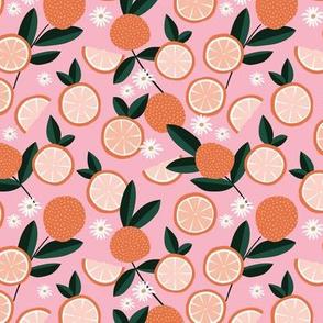 Lush citrus garden botanical boho oranges and summer leaves nursery green orange pink