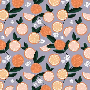 Lush citrus garden botanical boho oranges and summer leaves nursery lilac purple orange coral green