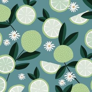 Lush citrus garden botanical boho lime and summer leaves kitchen restaurant blue stone petrol mint green white