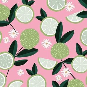 Lush citrus garden botanical boho lime and summer leaves restaurant kitchen soft pastel pink mint green white