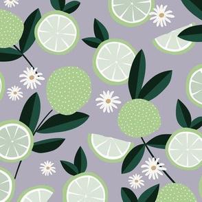 Lush citrus garden botanical boho lime and summer leaves kitchen restaurant lilac purple mint green white