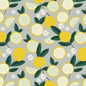 Lush citrus garden botanical boho lemons and summer leaves kitchen restaurant mist green bright yellow
