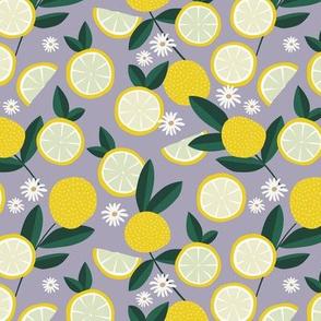 Lush citrus garden botanical boho lemons and summer leaves kitchen restaurant lilac purple bright yellow