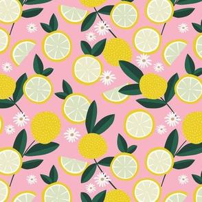 Lush citrus garden botanical boho lemons and summer leaves kitchen restaurant soft pink bright yellow
