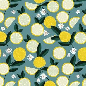 Lush citrus garden botanical boho lemons and summer leaves kitchen restaurant petrol stone blue bright yellow