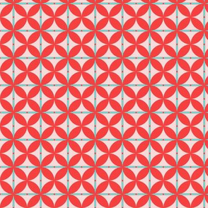 Petals _ Stripes with dots - Coral Red