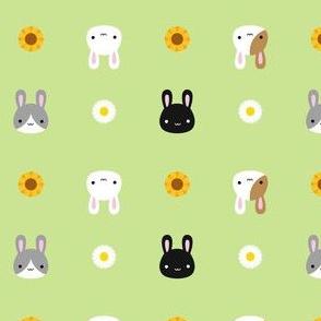 Kawaii Bunny Rabbits & Spring Flowers