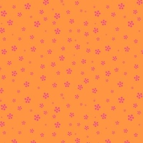 orange and pink dotty floral