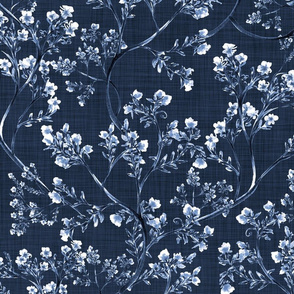 Chinoiserie Wild Flowers (Navy) - Large Scale