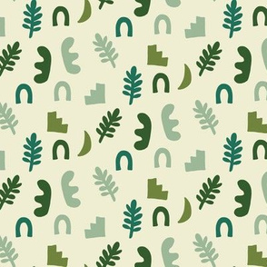 Abstract Boho Shapes in Green Arch Stairs Leaves