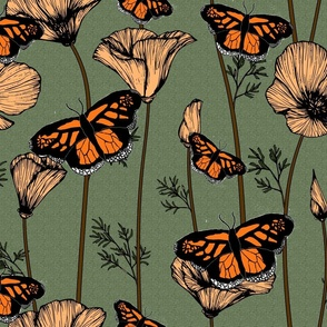 Monarch Butterflies and California Poppies