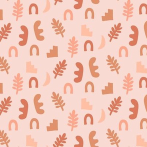 Peach Rust Pink Abstract Boho Shapes