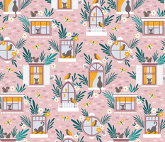 Animals In Floral Windows Whimsical Pink Brick House Cats, Puppy, Butterfly, Birds