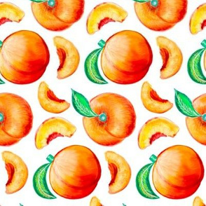 Peaches - White Background - Rotated For Tea Towels