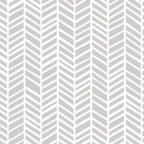 Herringbone Medium Light Grey Medium Scale by Friztin