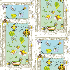 Bee, bug, butterfly, ant, summer day+companion patterns