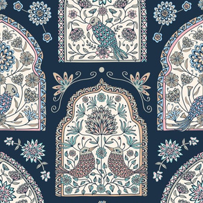 Folly - Exotic Windows with Fantasy Birds and Flowers on Dark Blue - LARGE-Scale - Unblink Studio by Jackie Tahara