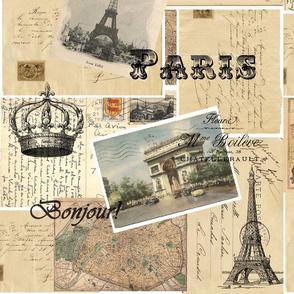 French Paris Postcard Collage