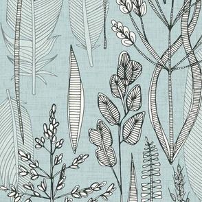 meadow feathers celadon blue