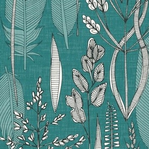 meadow feathers teal