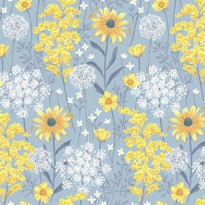 Late Summer Wildflowers - light blue - large scale