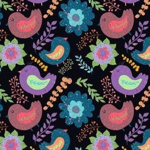 Folk Art Birds Black
