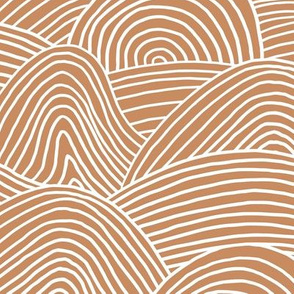 Ocean waves and surf vibes abstract salty water minimal Scandinavian style stripes cinnamon ginger brown WALLPAPER XXL