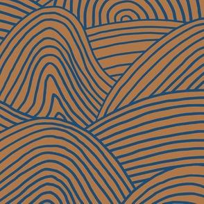 Ocean waves and surf vibes abstract salty water minimal Scandinavian style stripes rust burnt orange navy blue WALLPAPER XXL