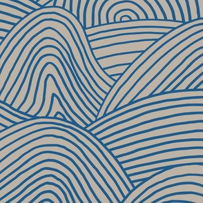 Ocean waves and surf vibes abstract salty water minimal Scandinavian style stripes navy blue beige WALLPAPER XXL