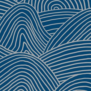 Ocean waves and surf vibes abstract salty water minimal Scandinavian style stripes navy blue gray WALLPAPER XXL