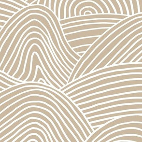 Ocean waves and surf vibes abstract salty water minimal Scandinavian style stripes beige camel sand WALLPAPER XXL