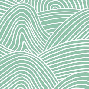 Ocean waves and surf vibes abstract salty water minimal Scandinavian style stripes mint green surf WALLPAPER XXL