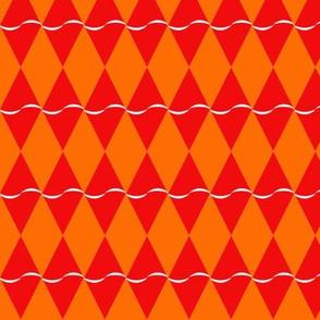 Diamond with undulating stripe - red on orange