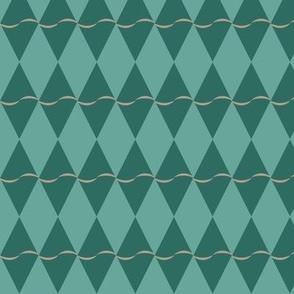 Diamond with undulating stripe - green on green