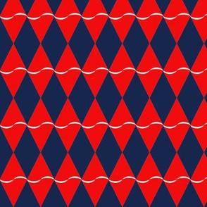 Diamond with undulating stripe - red on blue