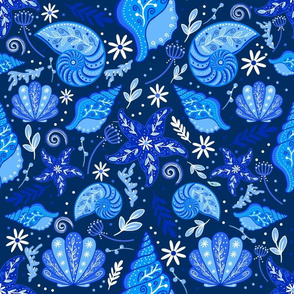 Painted Seashells on Navy - Large Scale
